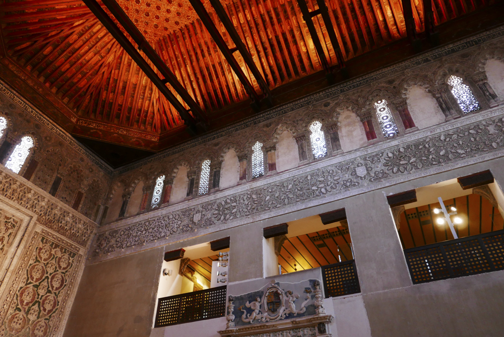 Synagog of el Transito - Toledo - Women's gallery overlooking the main hall, with wooden Mudéjar ceiling